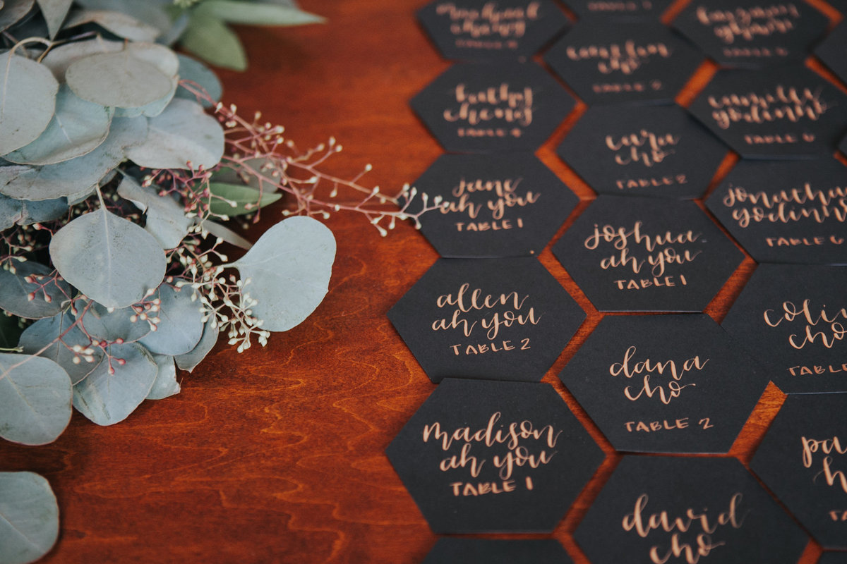 Hand calligraphy geometric seating chart display at The Fig House wedding