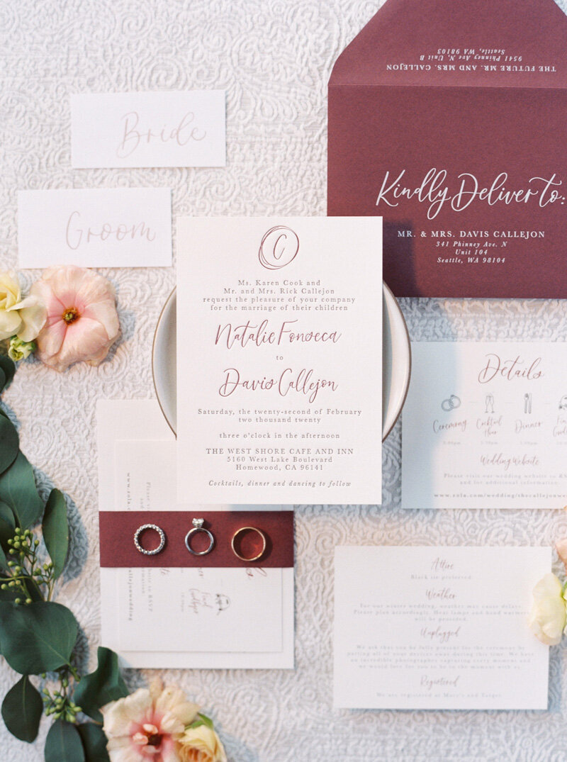pirouettepaper.com _ Wedding Stationery, Signage and Invitations _ Pirouette Paper Company _ The West Shore Cafe and Inn Wedding in Homewood, CA _ Lake Tahoe Winter Wedding _ Jordan Galindo Photography  (7)
