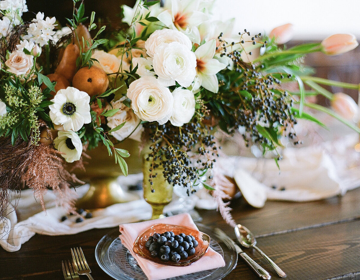 Wedding centerpiece and plated berries
