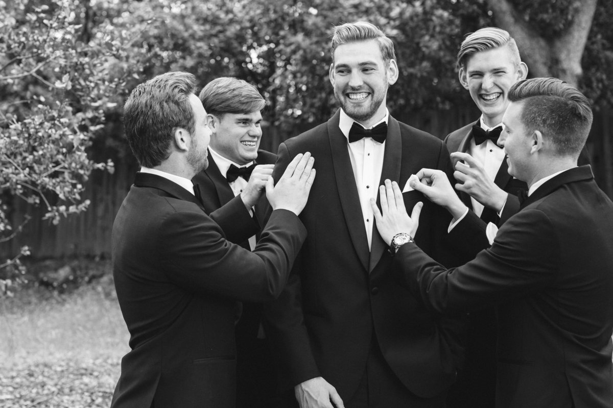 Black tie groom with groomsmen