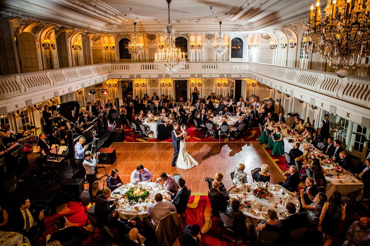 A couple shares their first dance at a Blackstone Hotel wedding reception in Chicago.