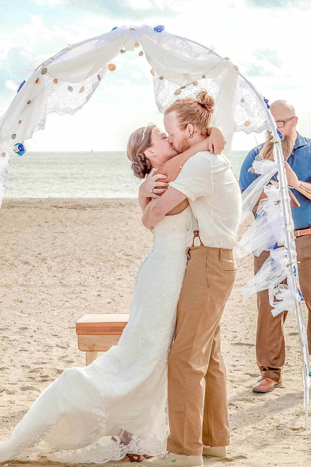 Bald Head Island NC Wedding Photography - Anna and Ray - Ceremony First Kiss - Wilmington Photographer Team