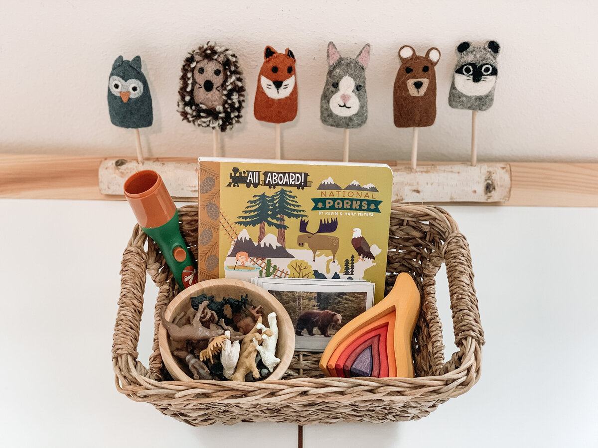 Story Basket with book toys and activities