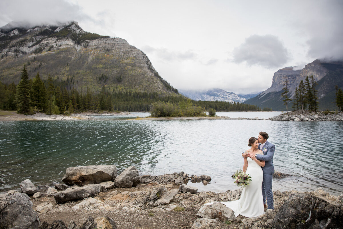 Lake Minnewanka Elopement Photos - Banff Elopement Planner