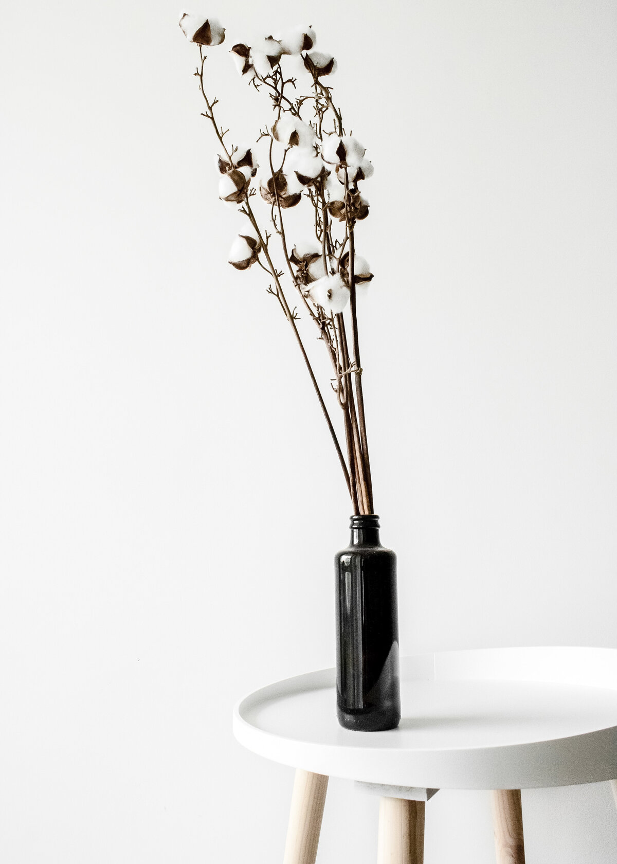 Cotton branches in a black glass vase sit on a minimal white table.