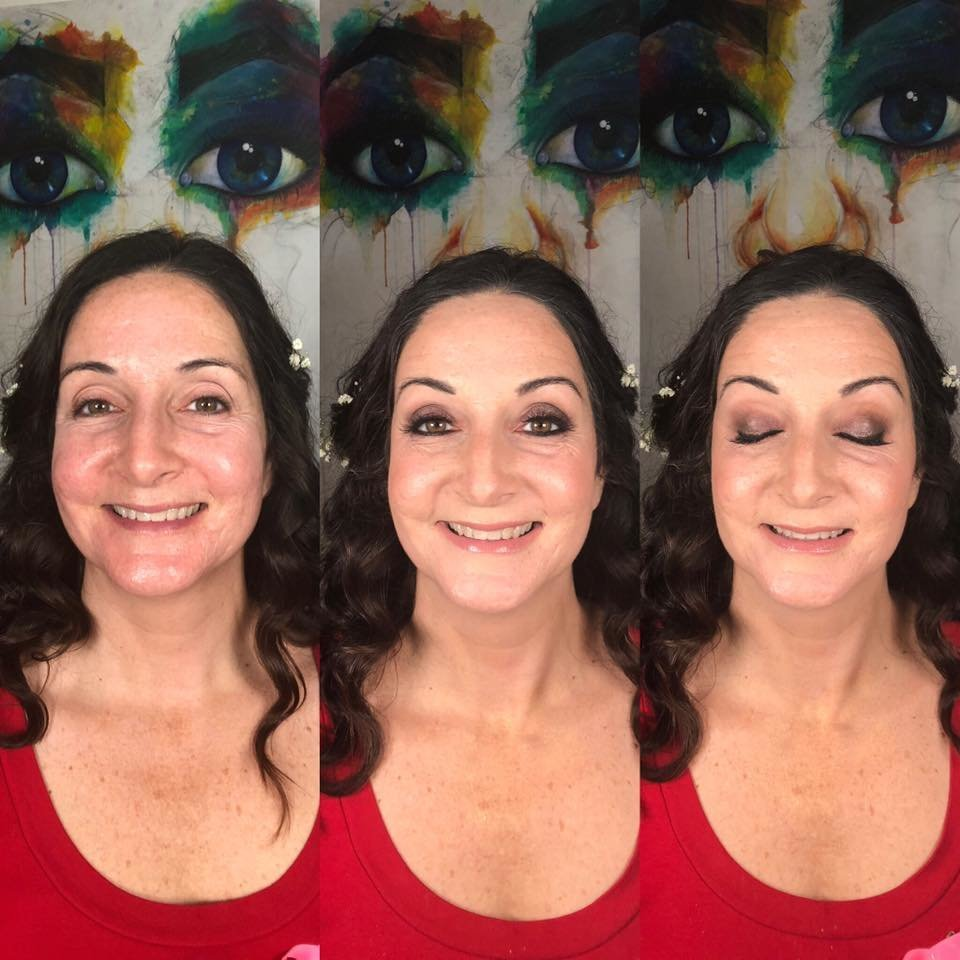 Special Event Makeup Before and After Full Flam, Soft, Smoky Eye Nude Lip
