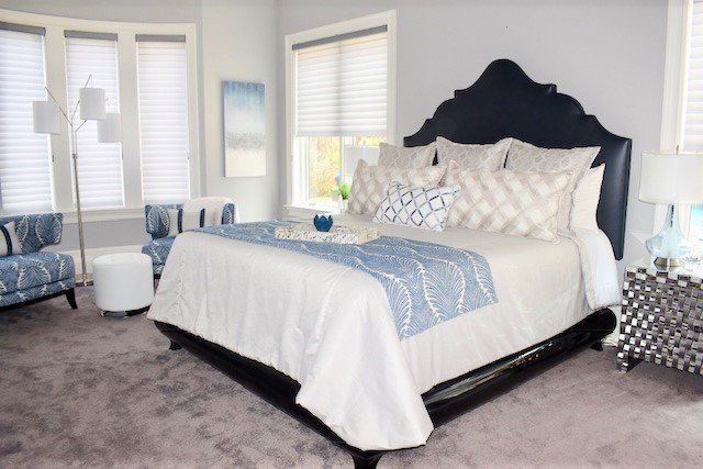 Custom Interior Design including furniture and bedding for client in Weddington, NC