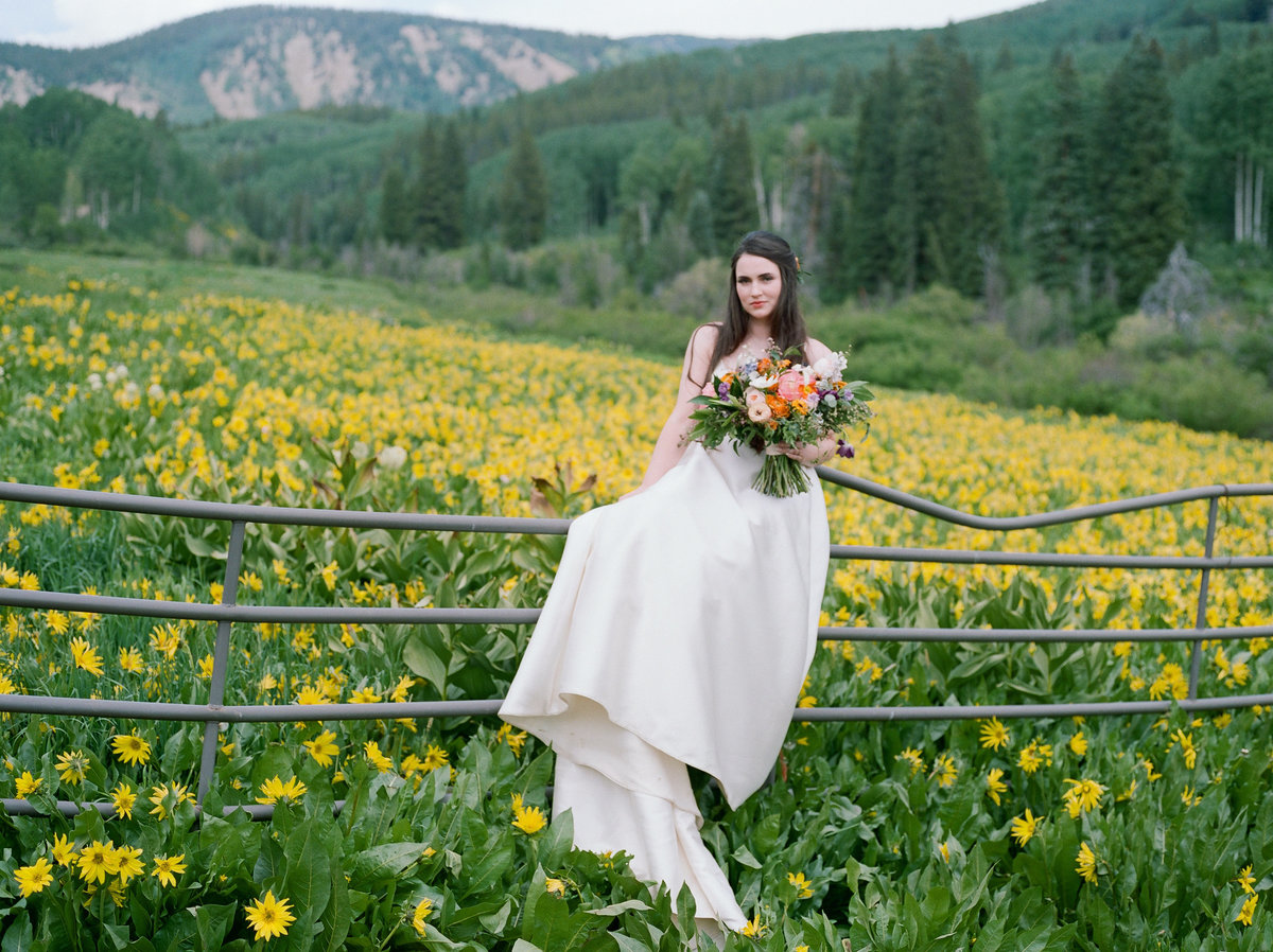 Bride sitting on fence in sunflower fields of crested butte