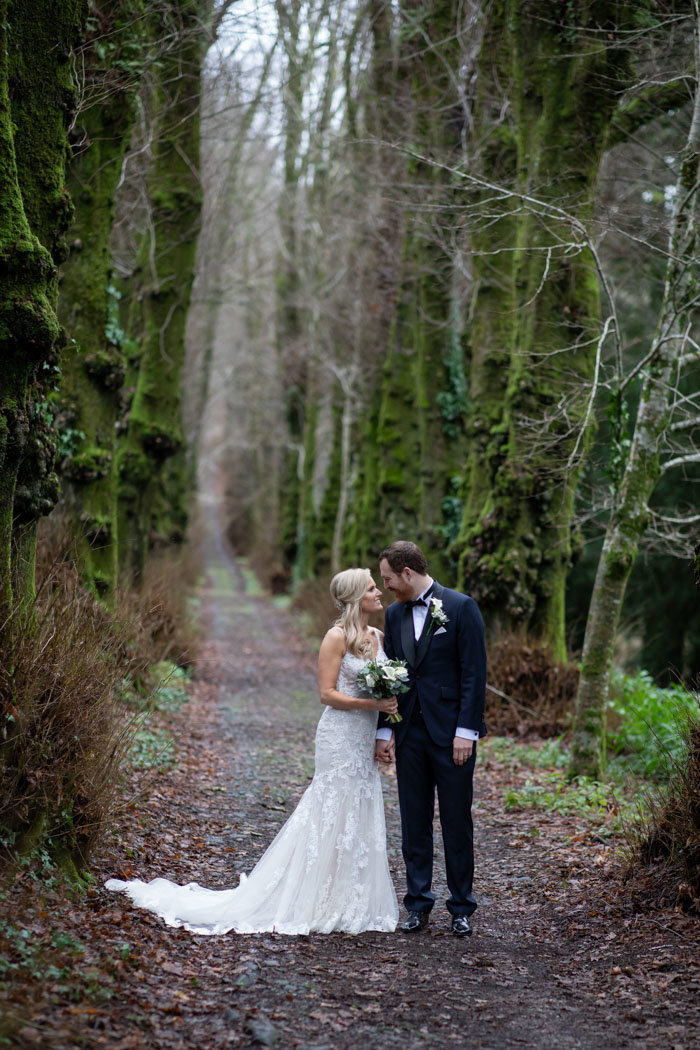 Bride and Groom at Pentillie Castle Cornwall Wedding