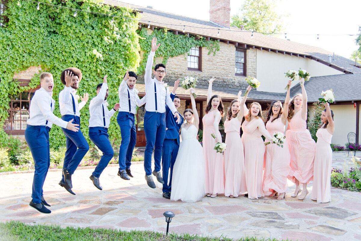 Excited bridal party photos in Fort Worth Texas