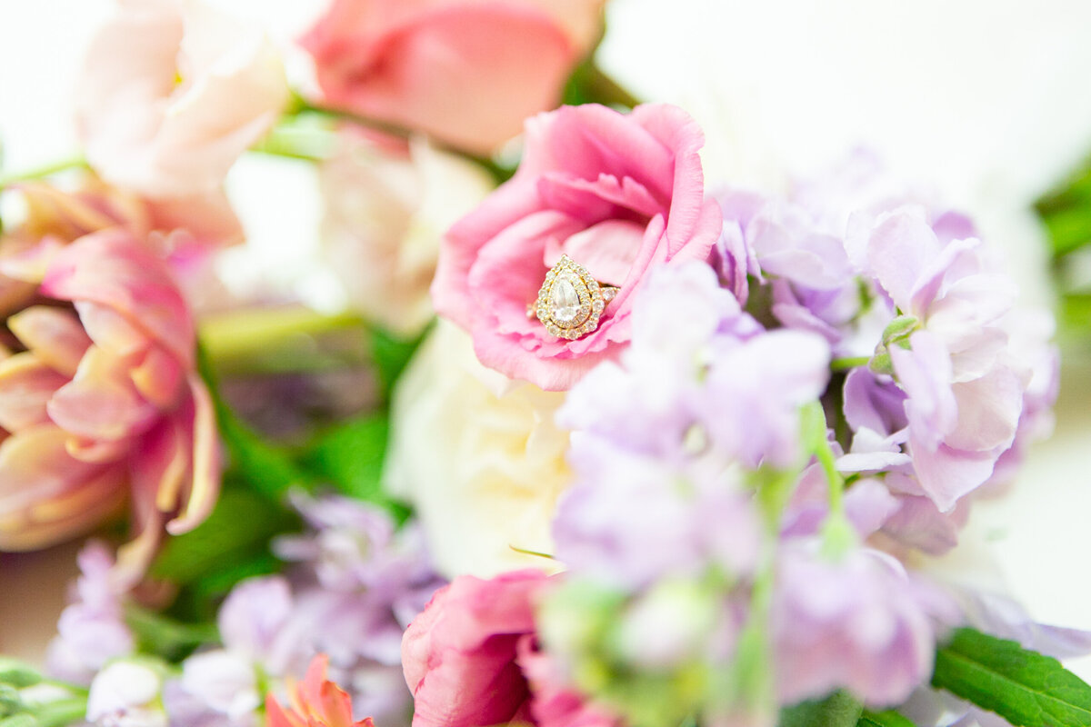 Colorful Spring Wedding Day Flowers with the Bride's Ring