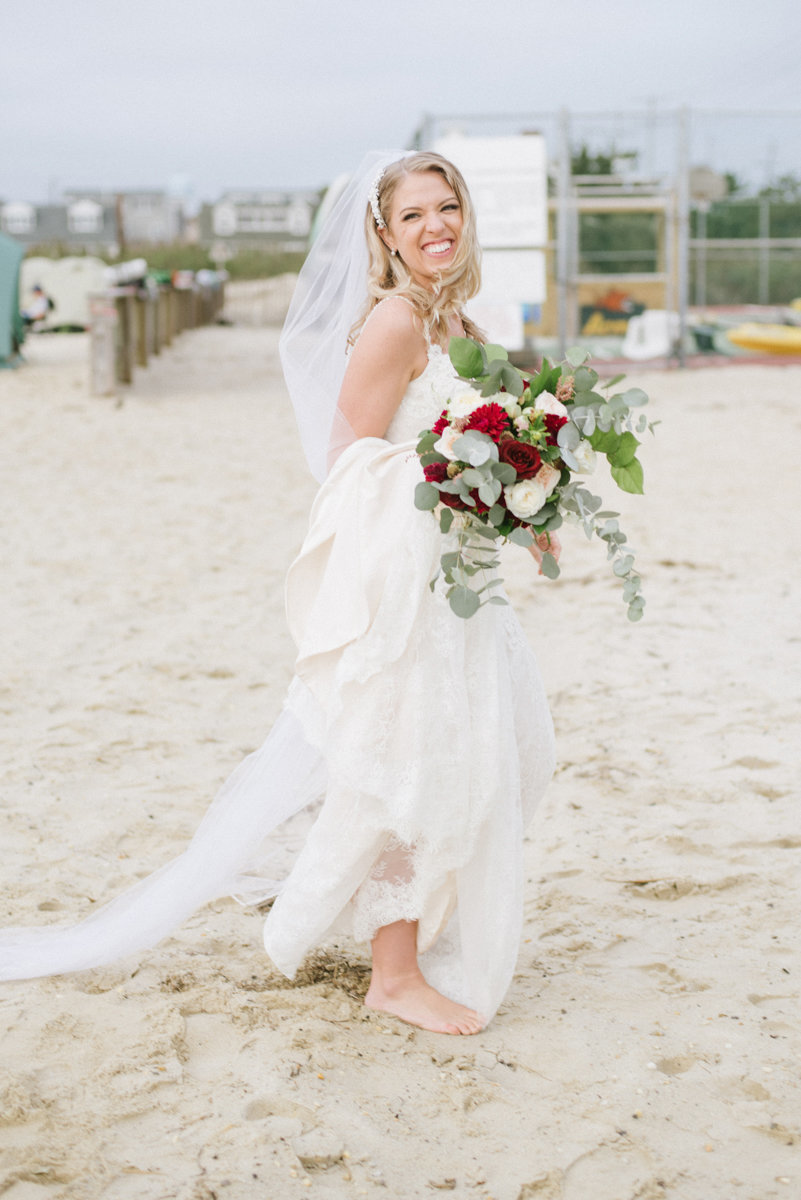 Shoeless bride on the beach in NJ