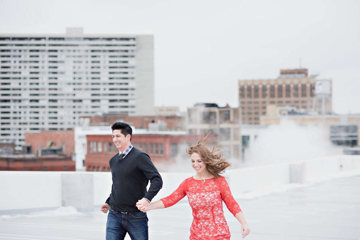 z lot downtown detroit skyline engagement photos