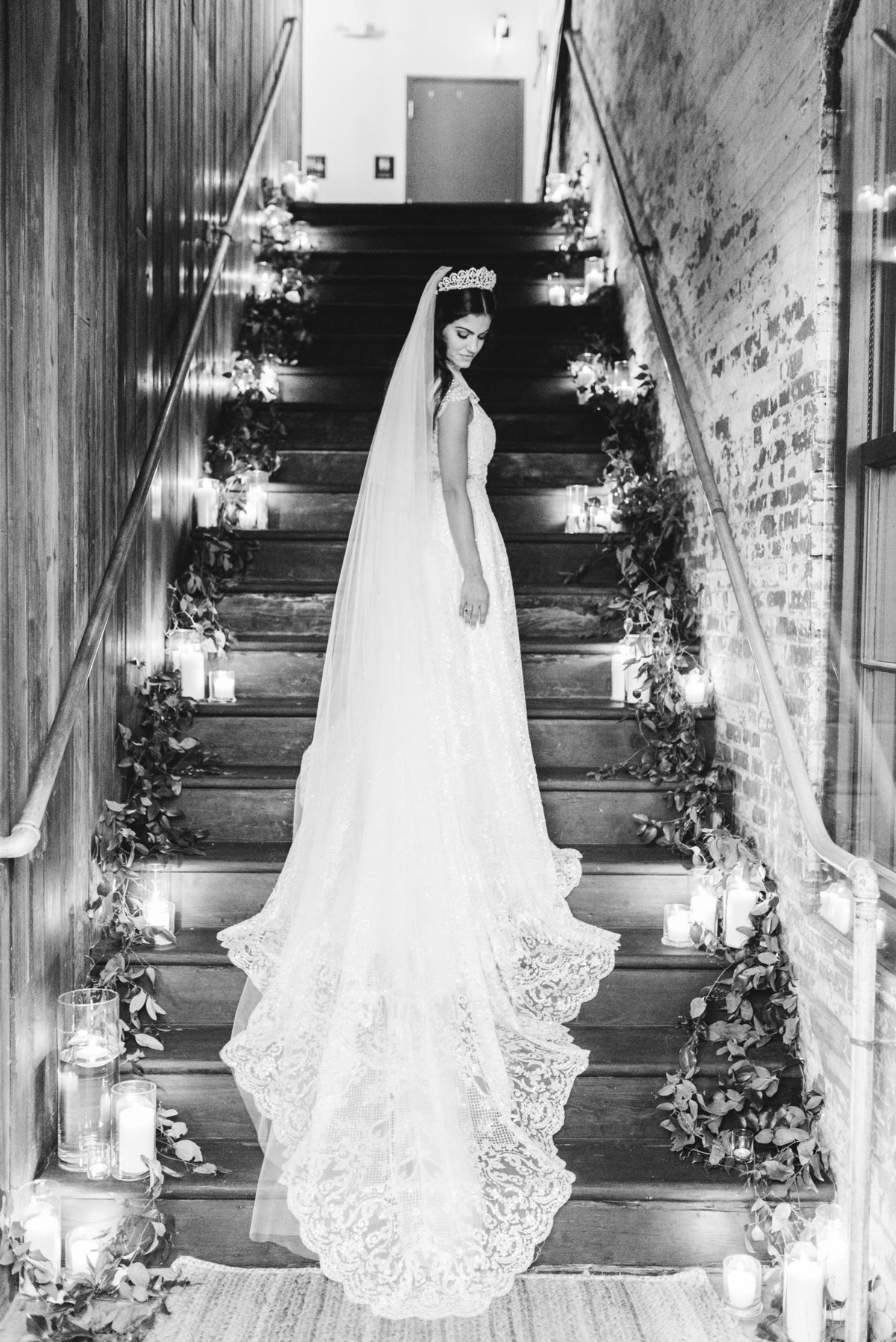 bridal portraits by staircase