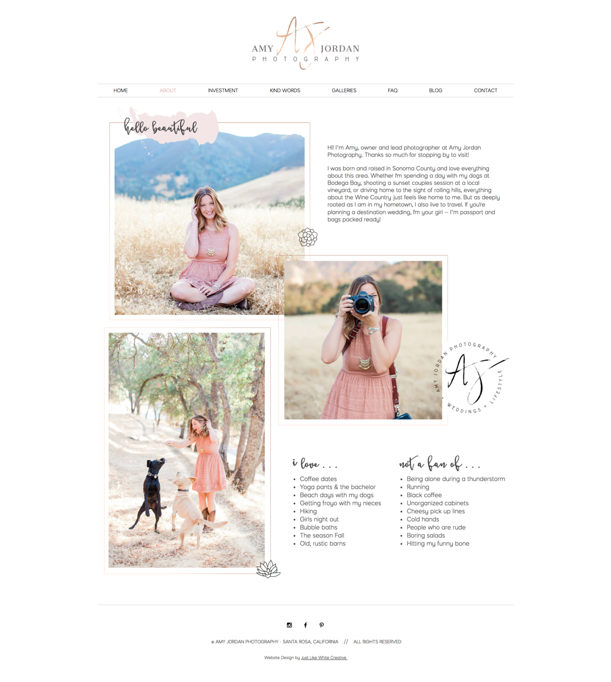 Feminine pretty photography website design by Tribble Design Co.