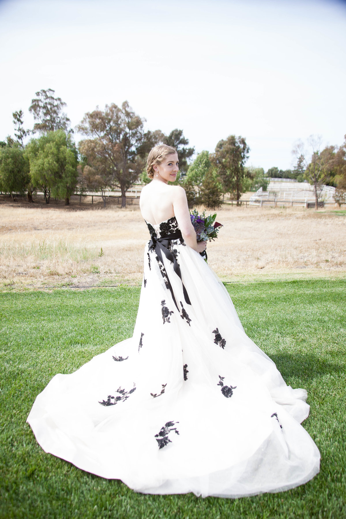 unique wedding dress for bride and her rustic wedding in wine country california