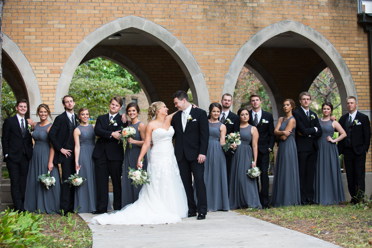 Wedding party photographer Rock Island Illinois Augustana College