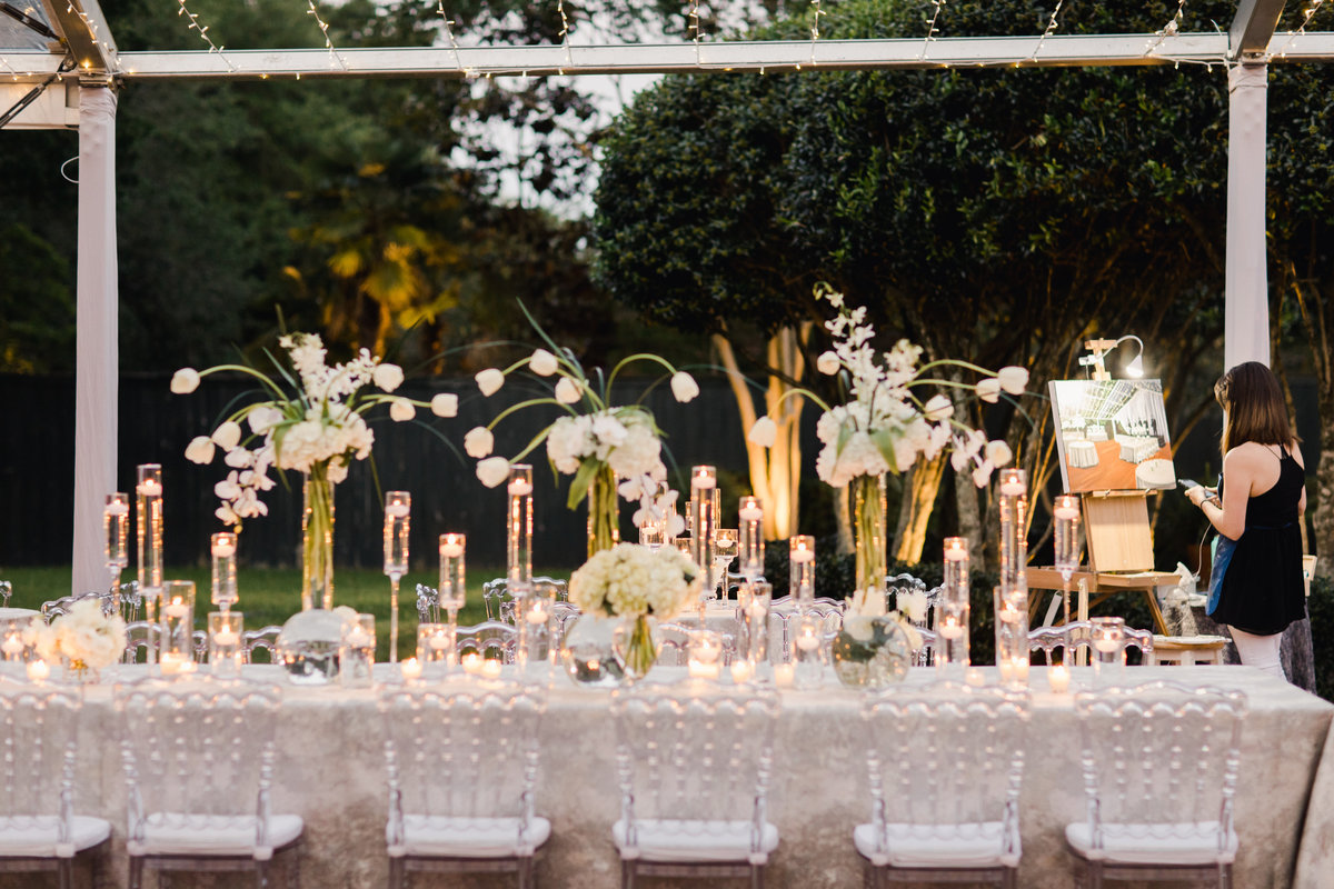 Candle decor for wedding reception