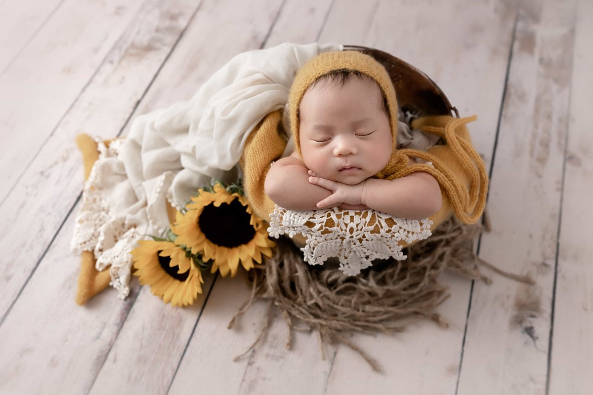 Sunflowers & newborn baby girl