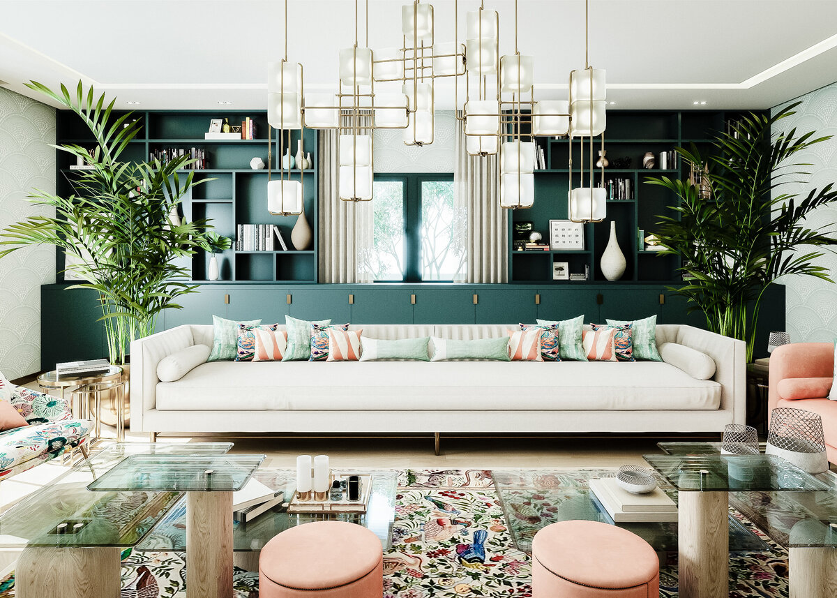 An oversized sofa sits in a luxury lounge complete with patterned rugs and a designer light fitting.