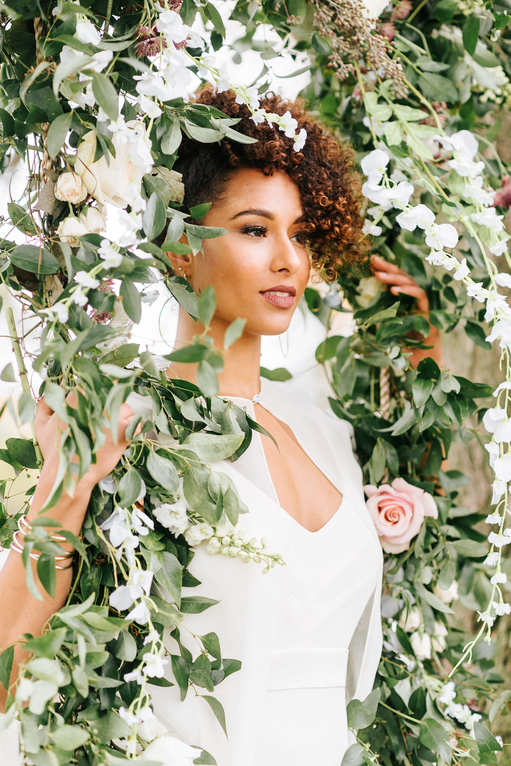 Lush Greenery Wedding Inspired Styled Shoot at Cornman Farms Bride with Flowers