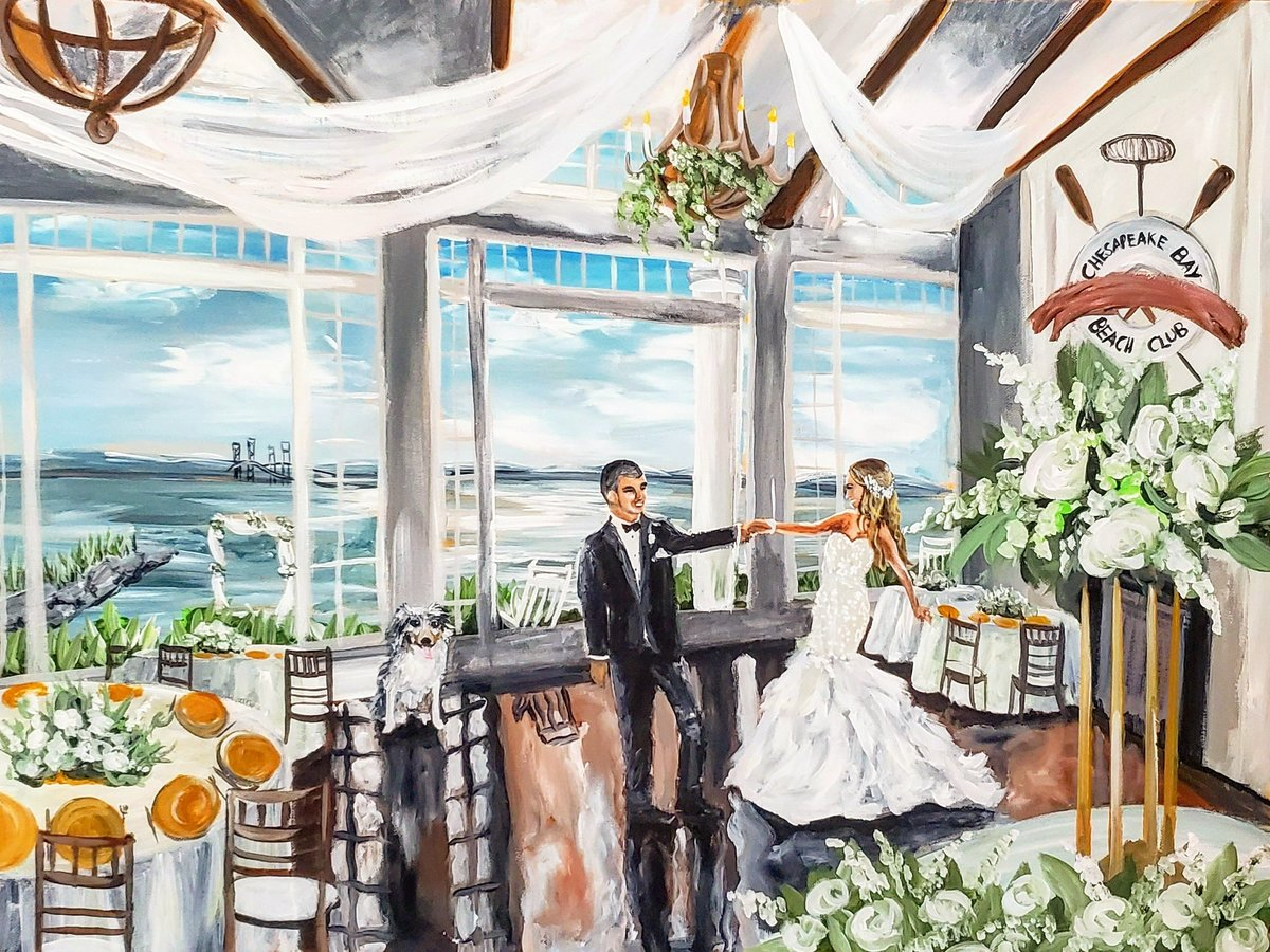 Live wedding painting of a bride and groom sharing their first dance at the Chesapeake Bay Beach Club in Stevensville Maryland
