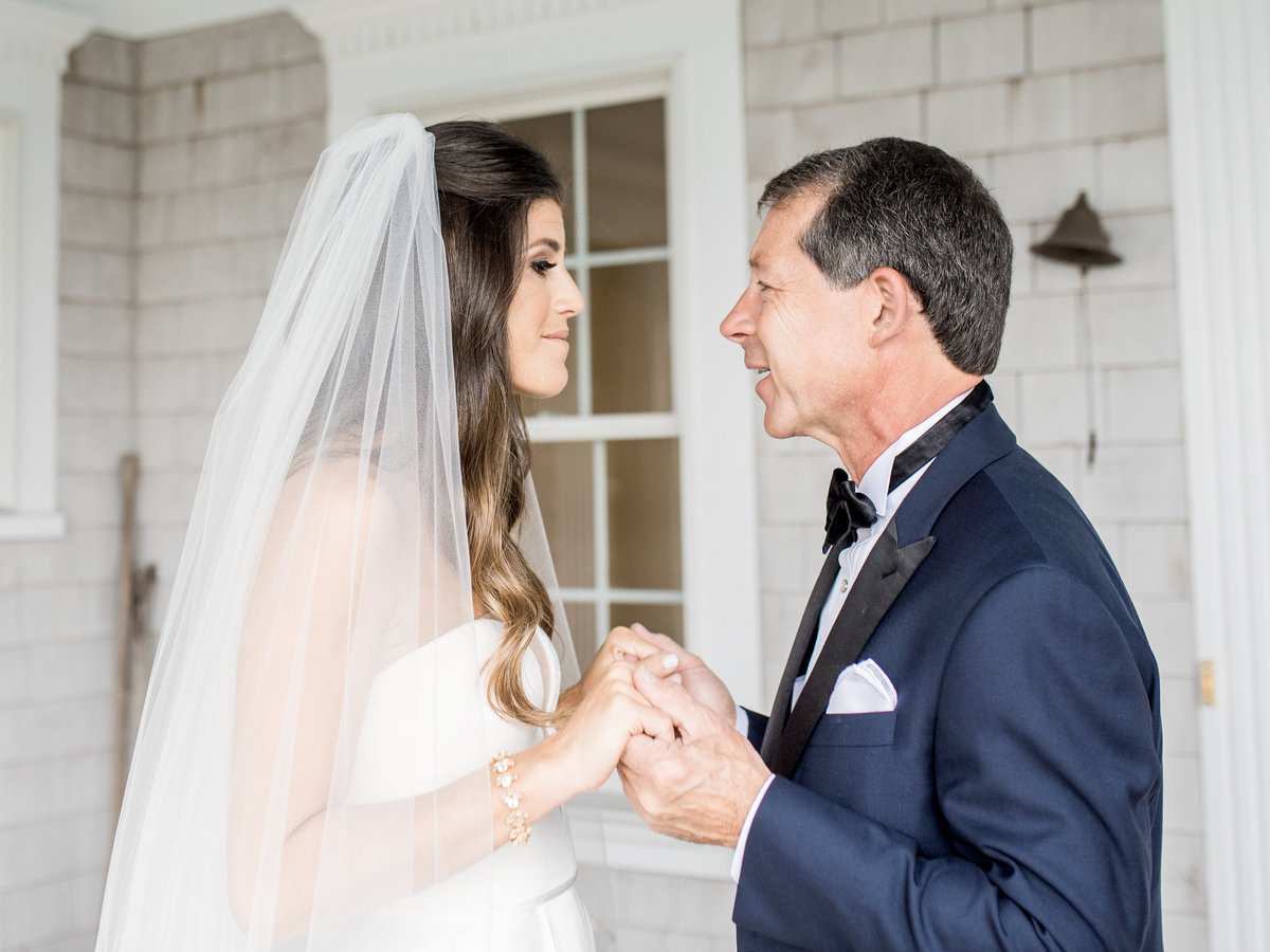 Father's first look with bride for Cape Cod wedding weekend by top destination wedding planner Always Yours Events