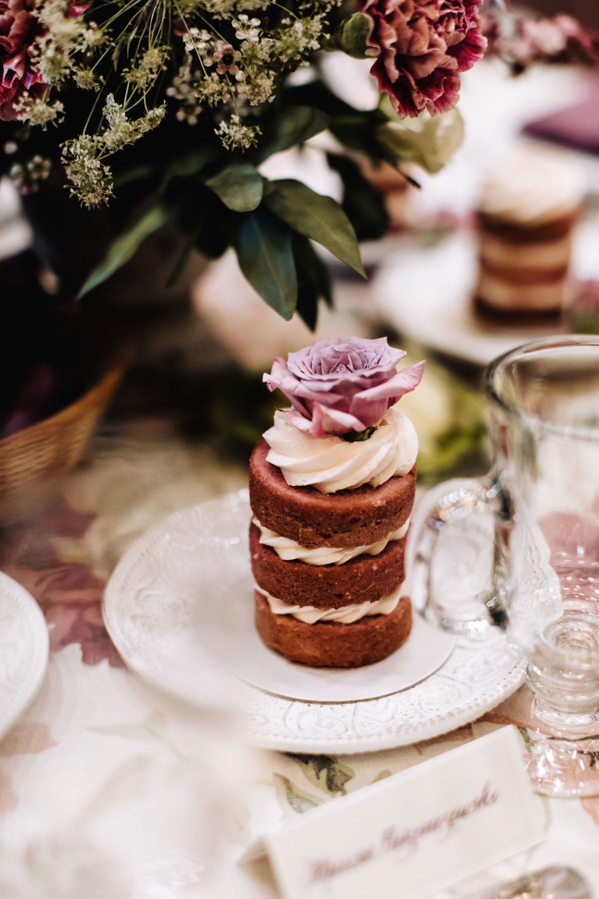 lavender spray rose on cake
