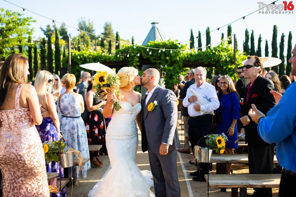 Peltzer Winery Wedding Venue Photography Temecula Bride and Groom aisle Ceremony