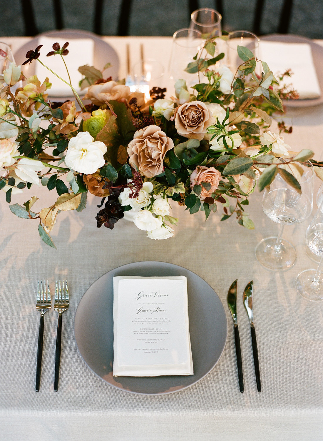 Tablescape for wedding by Jenny Schneider Events at the Beaulieu Garden in Napa Valley, California. Photo by Lori Paladino Photography.