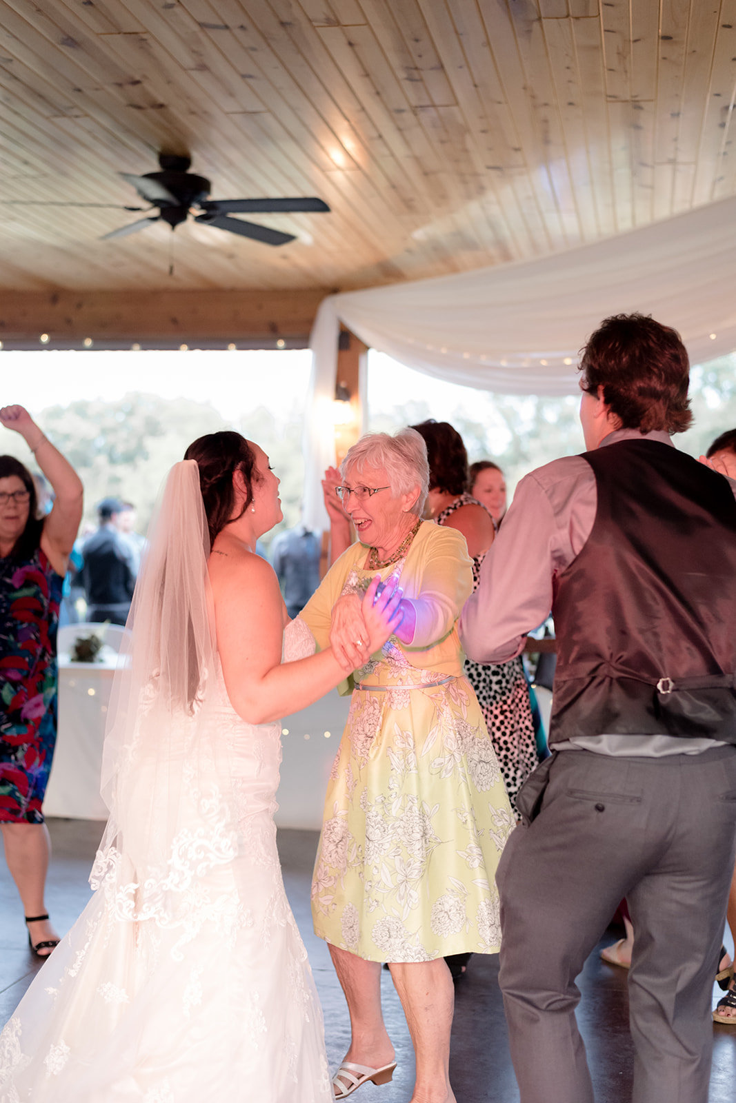 Bride dancing with her grandmother during her Wedding Day Reception in Prescott Wisconsin