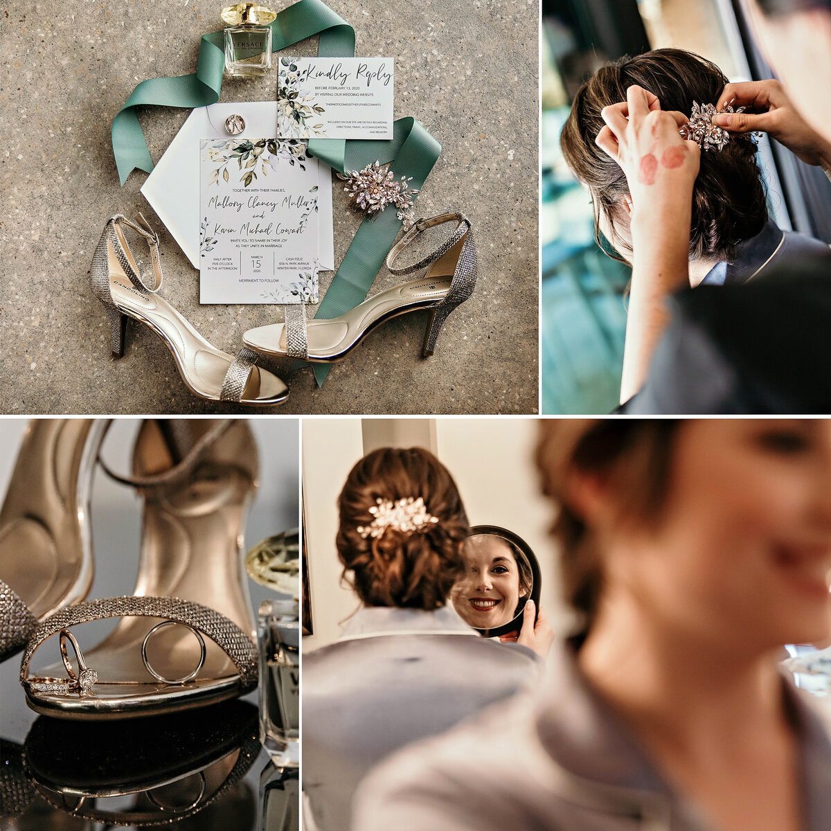 An image of the bride's silver heels and hair accessory resting beside the wedding invitation, the hairdresser applying the bride's hair trim, the wedding rings resting on the bride's shoe, and the bride checking her hair in the mirror by Garry & Stacy Photography Co - Tampa wedding photography and videography