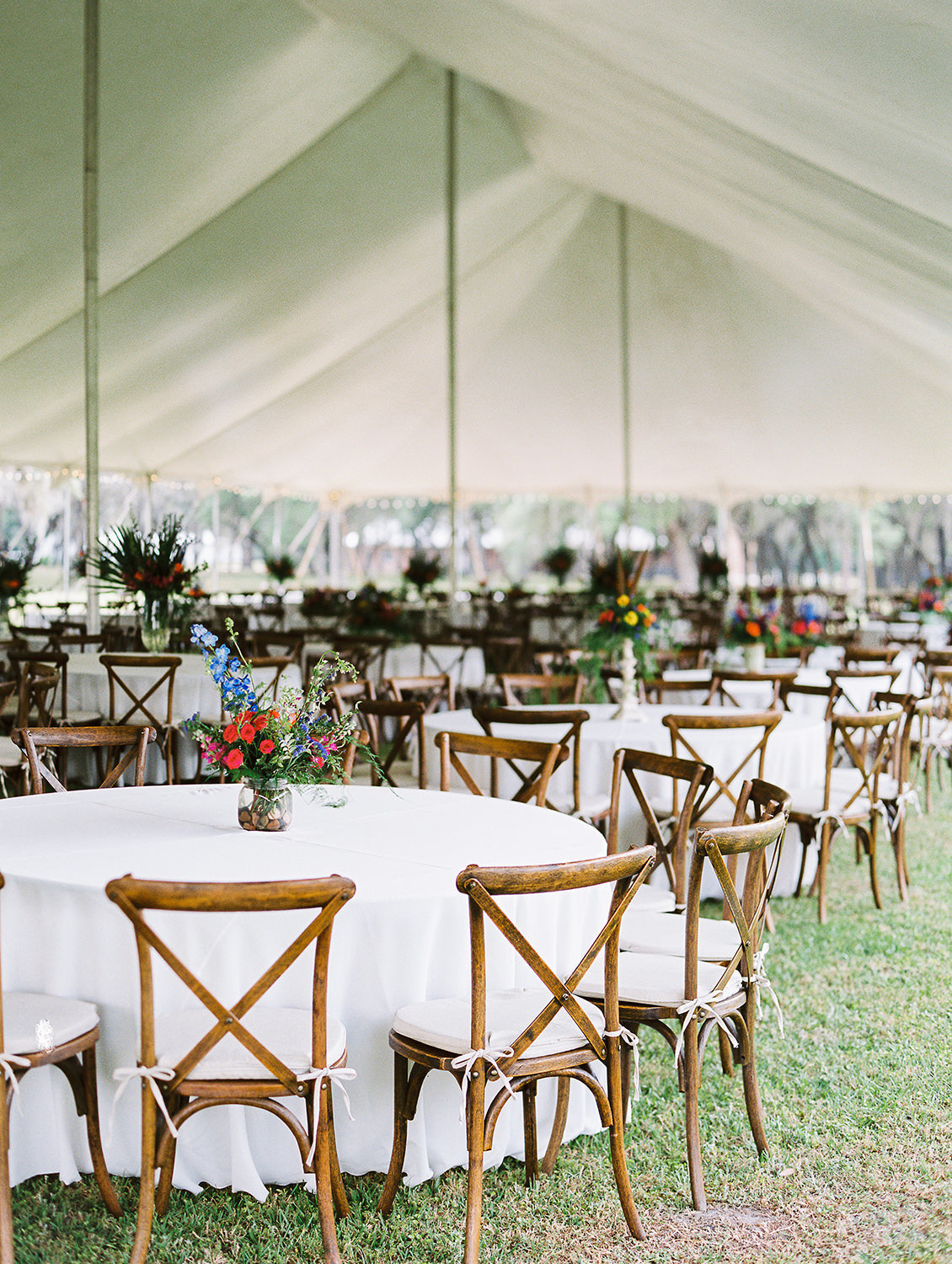 rustic wedding reception in tent