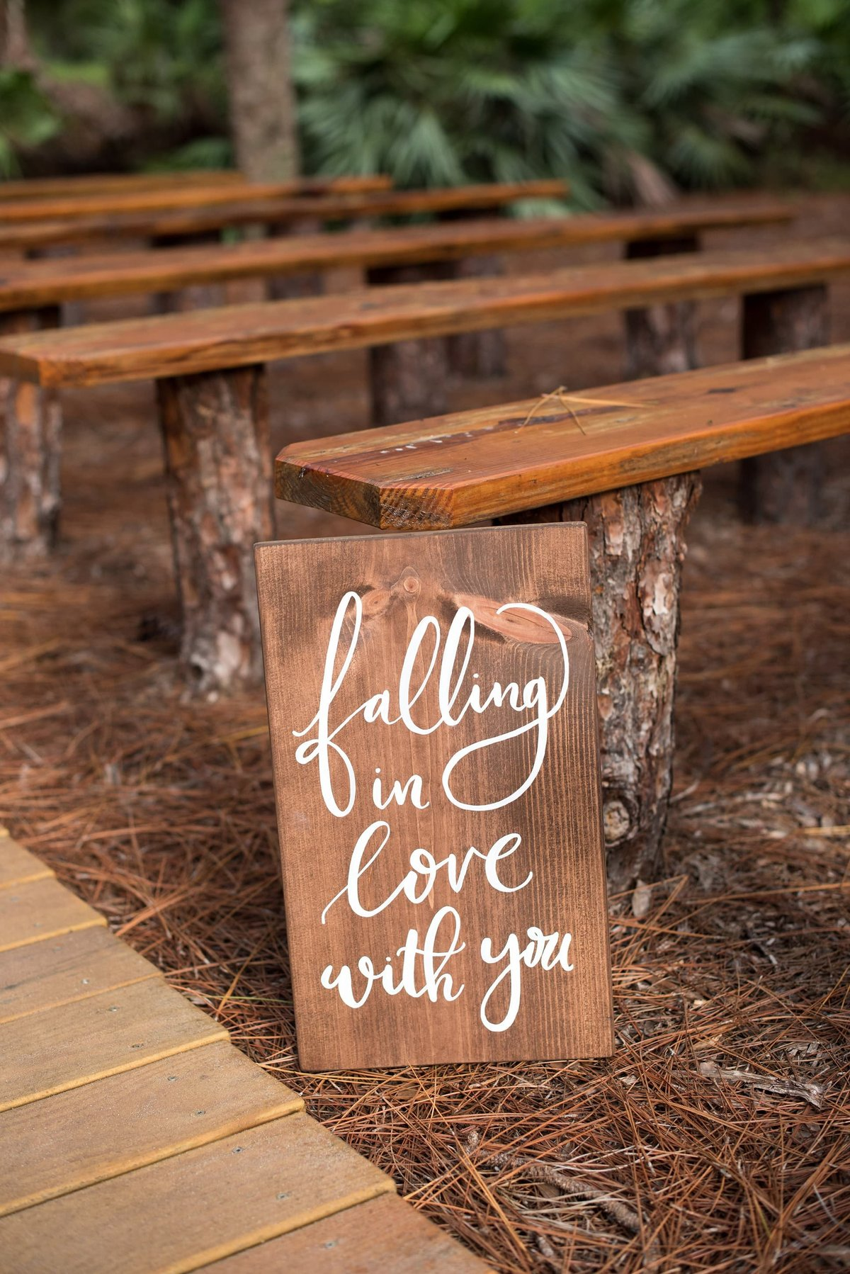 wedding aisle sign calligraphy love