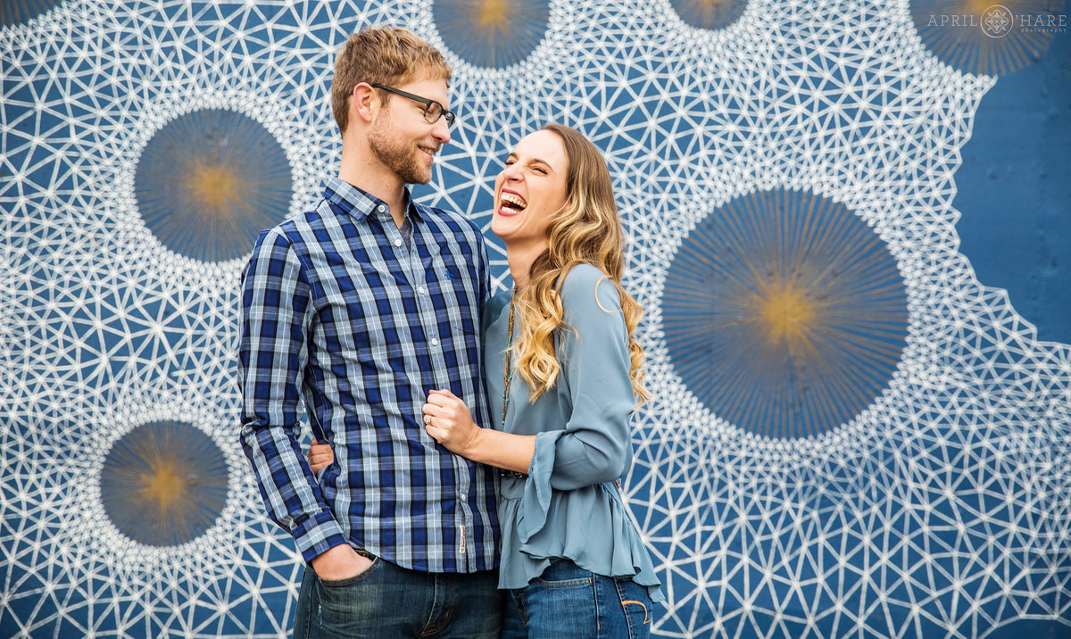 Fun Denver Engagement Photographer at Cherry Creek Bike Path Optimysticism Wall Mural