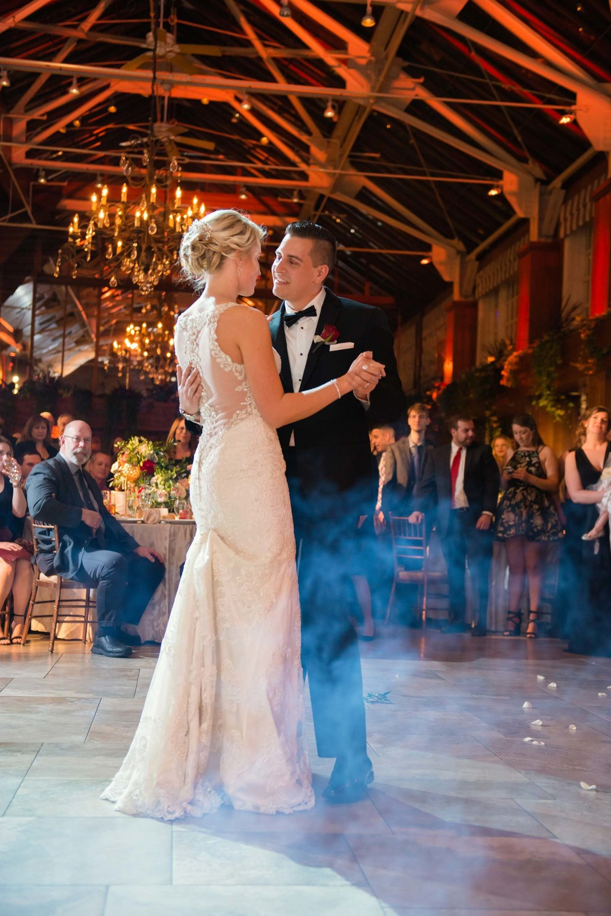 Bride and groom dance at Fox Hollow