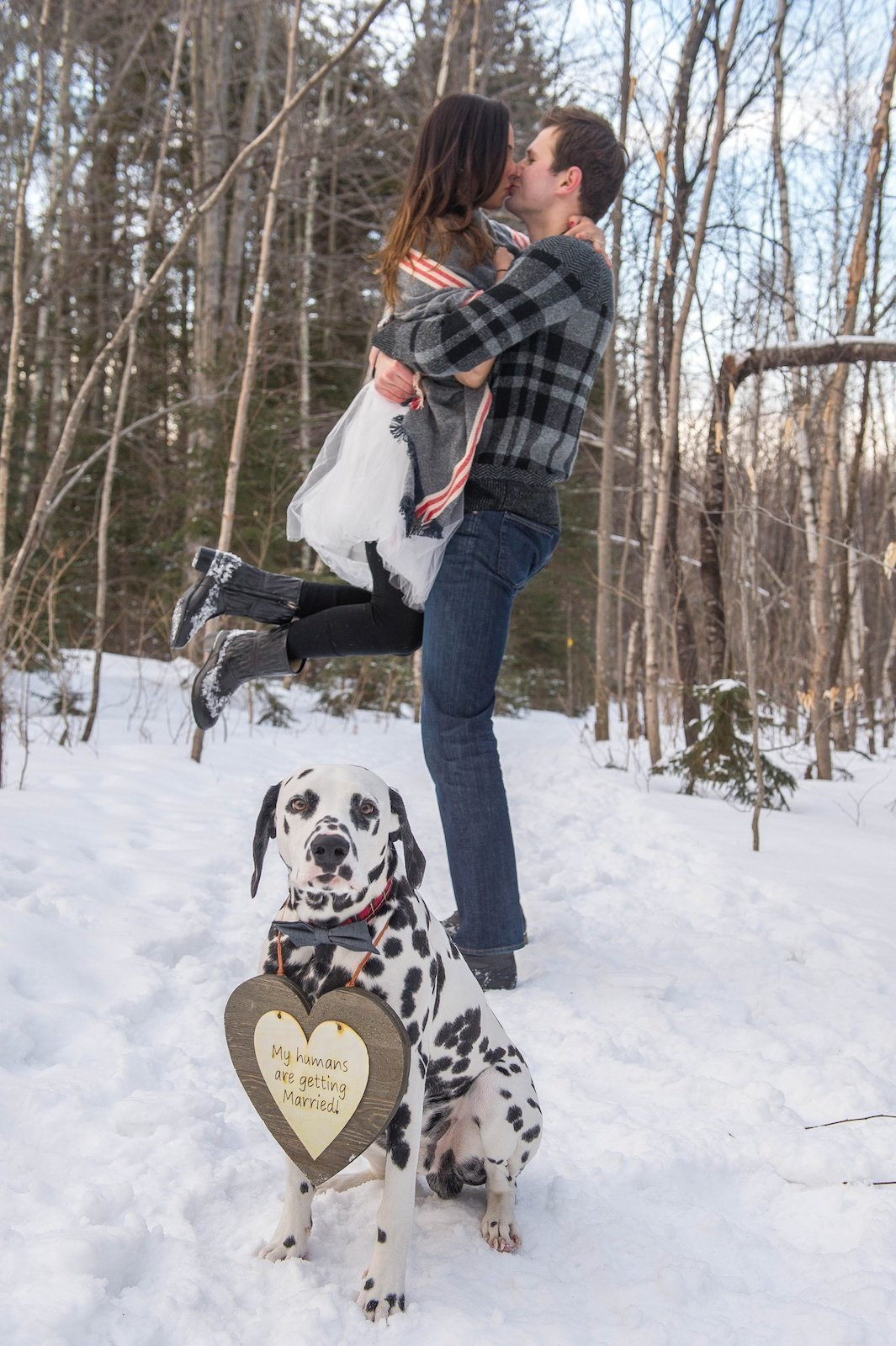 engagement photos in the snow with dog in Vermont