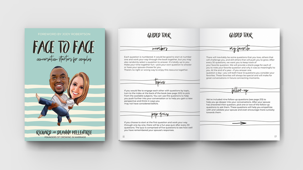 Face To Face Mock-up Cover & Open Book