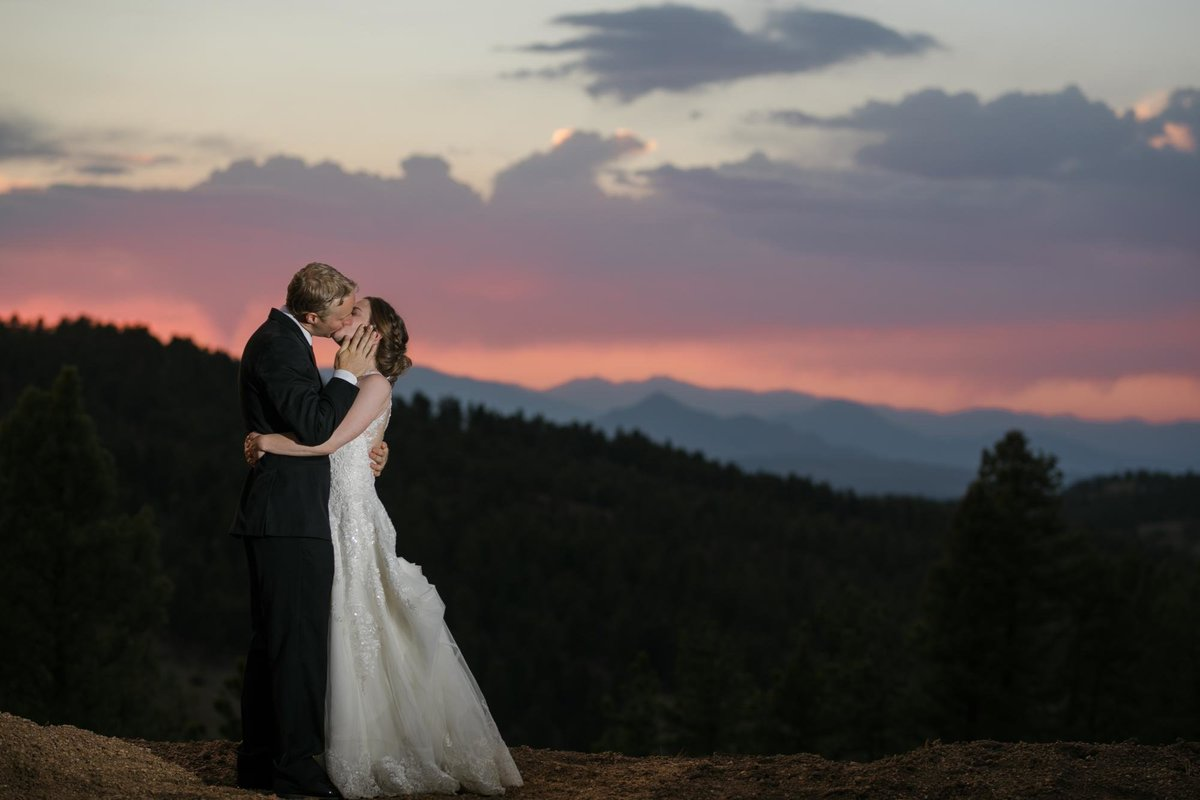 sunset mountain wedding photos