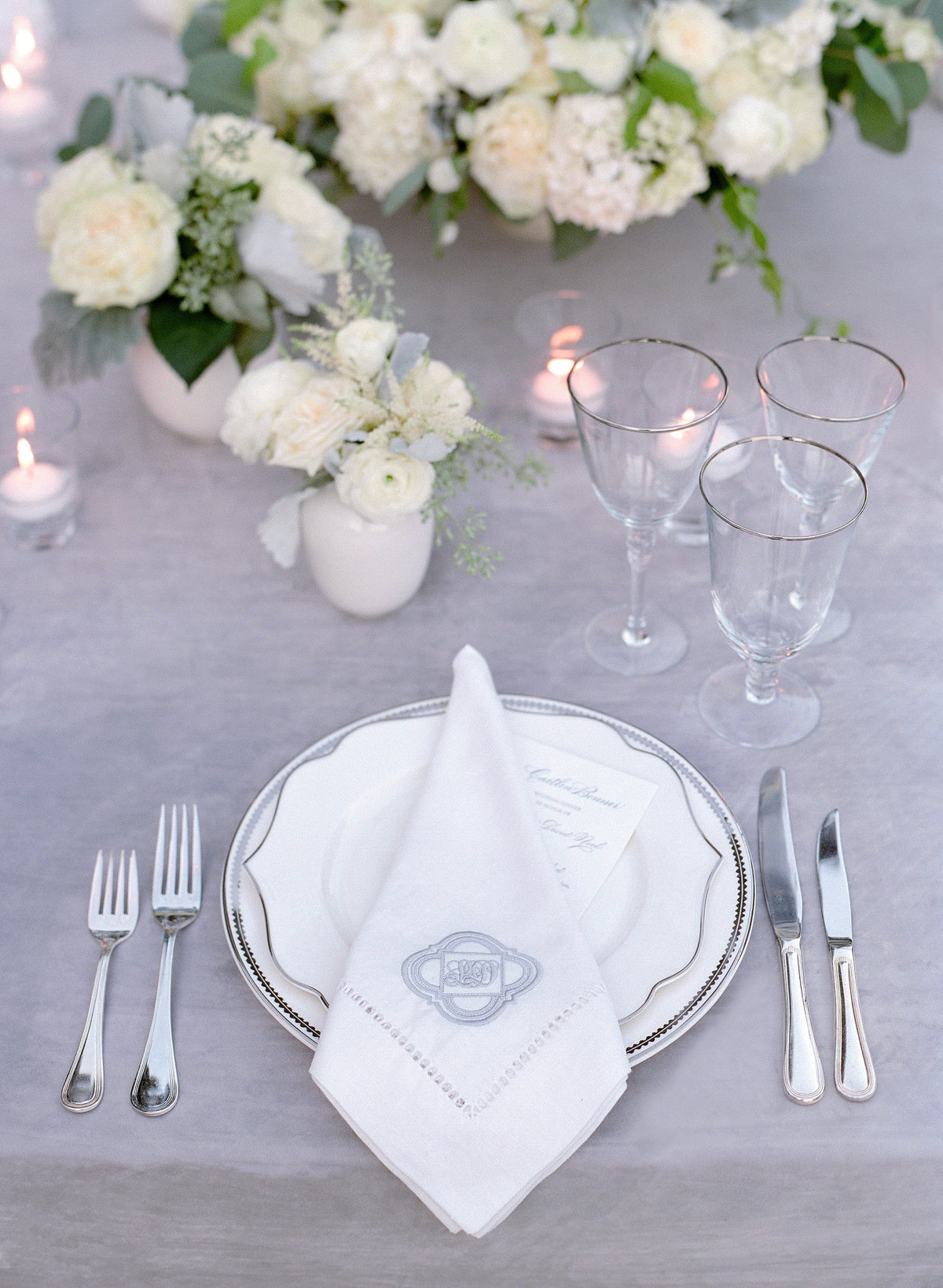 Grey tablescape for Cavallo Point wedding by Jenny Schneider Events.