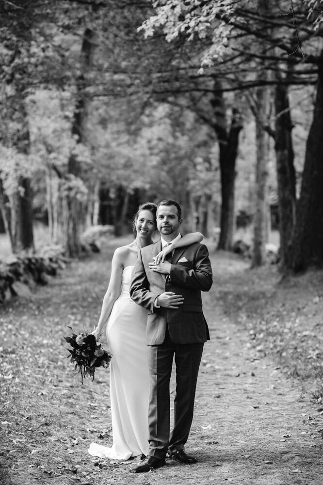 bride and groom black and white woodland in Hollis New Hamshire