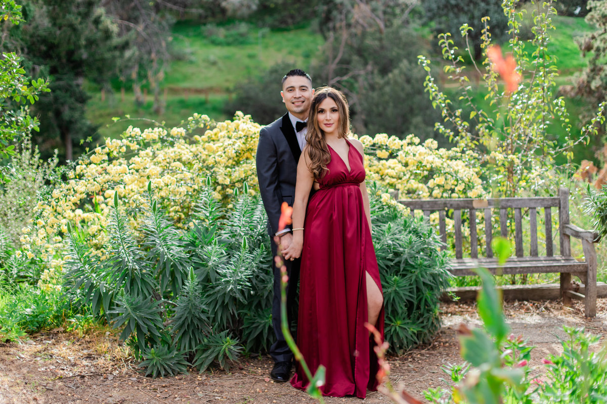 UC Riverside Botanical Gardens, Engagement Photography, Riverside Phototgrapher, Garden Engagement, Couple Photography, Red Dress-30