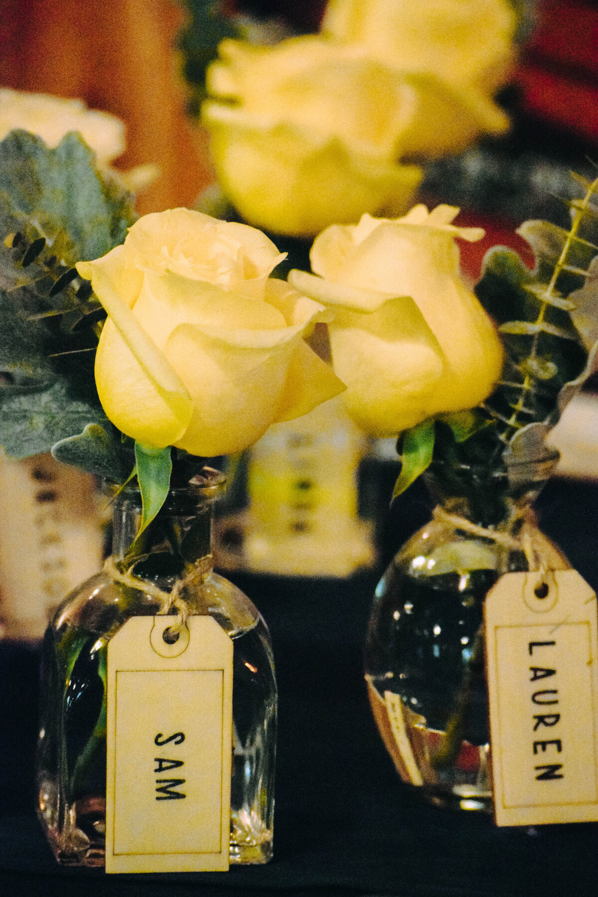 wedding favors, floral favors, yellow rose