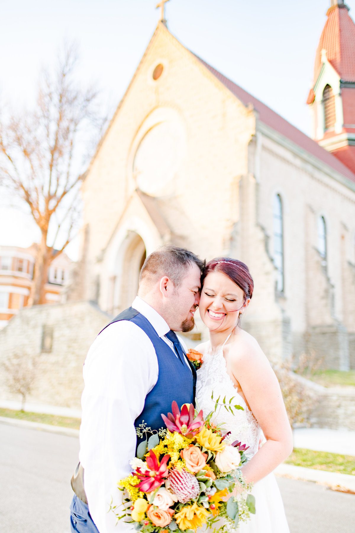 Couple Portraits Wedding Brewery Cincinnati Ohio Colorful Flowers-93