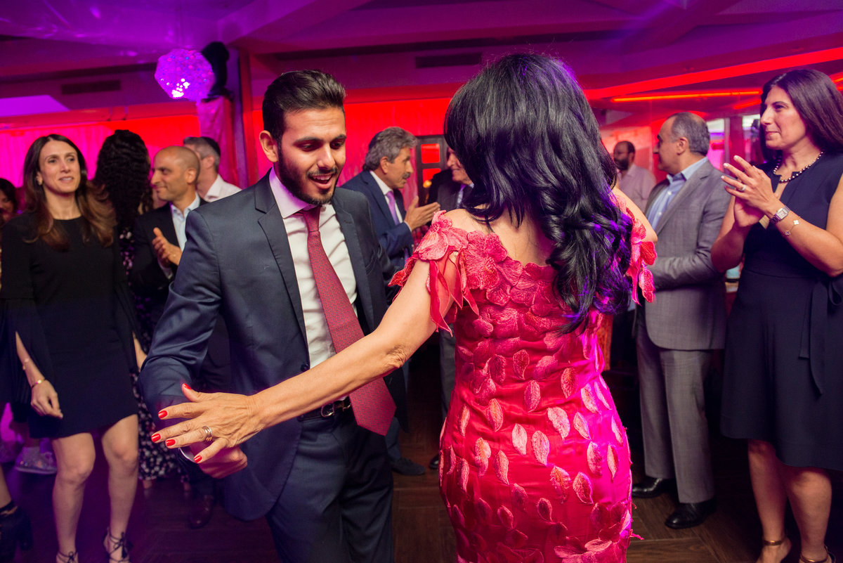 family dancing at wedding reception at Sephardic Temple