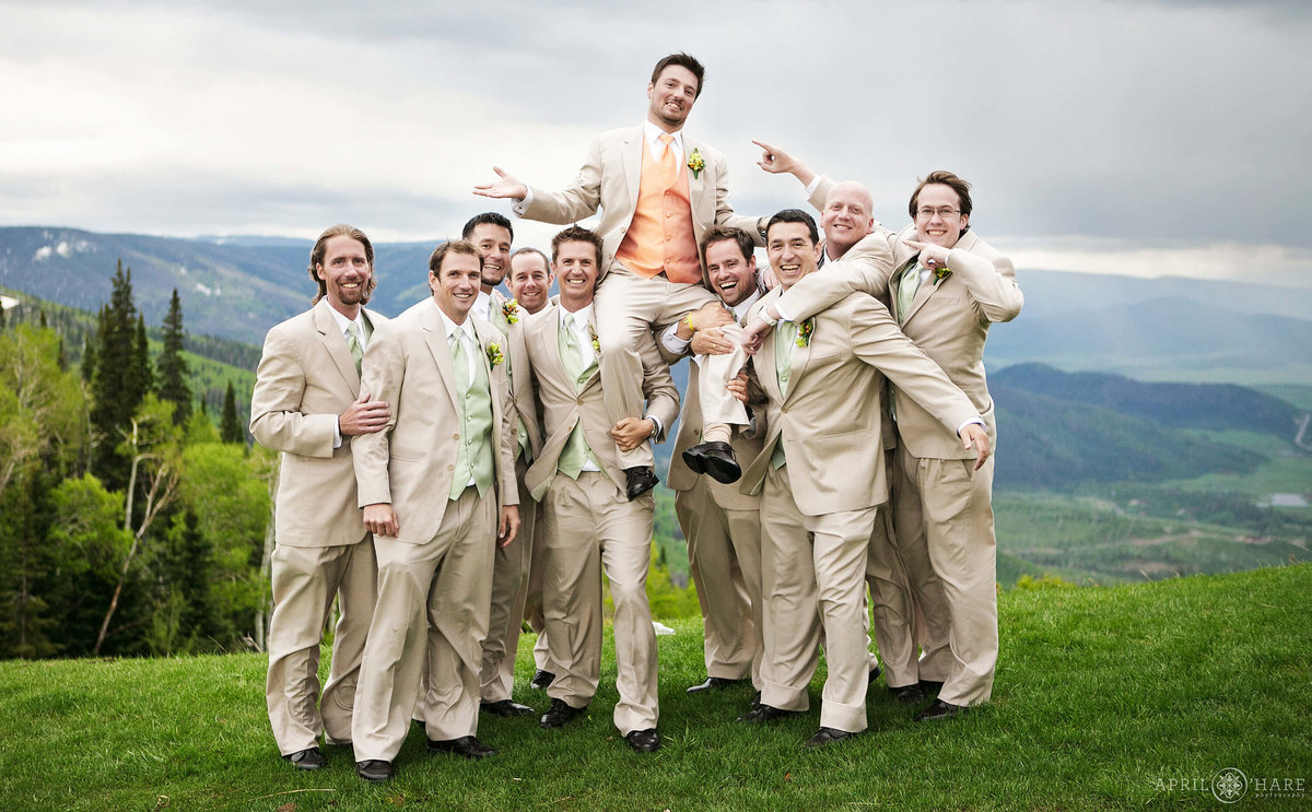 Fun Groomsmen Portrait in Steamboat Springs Colorado