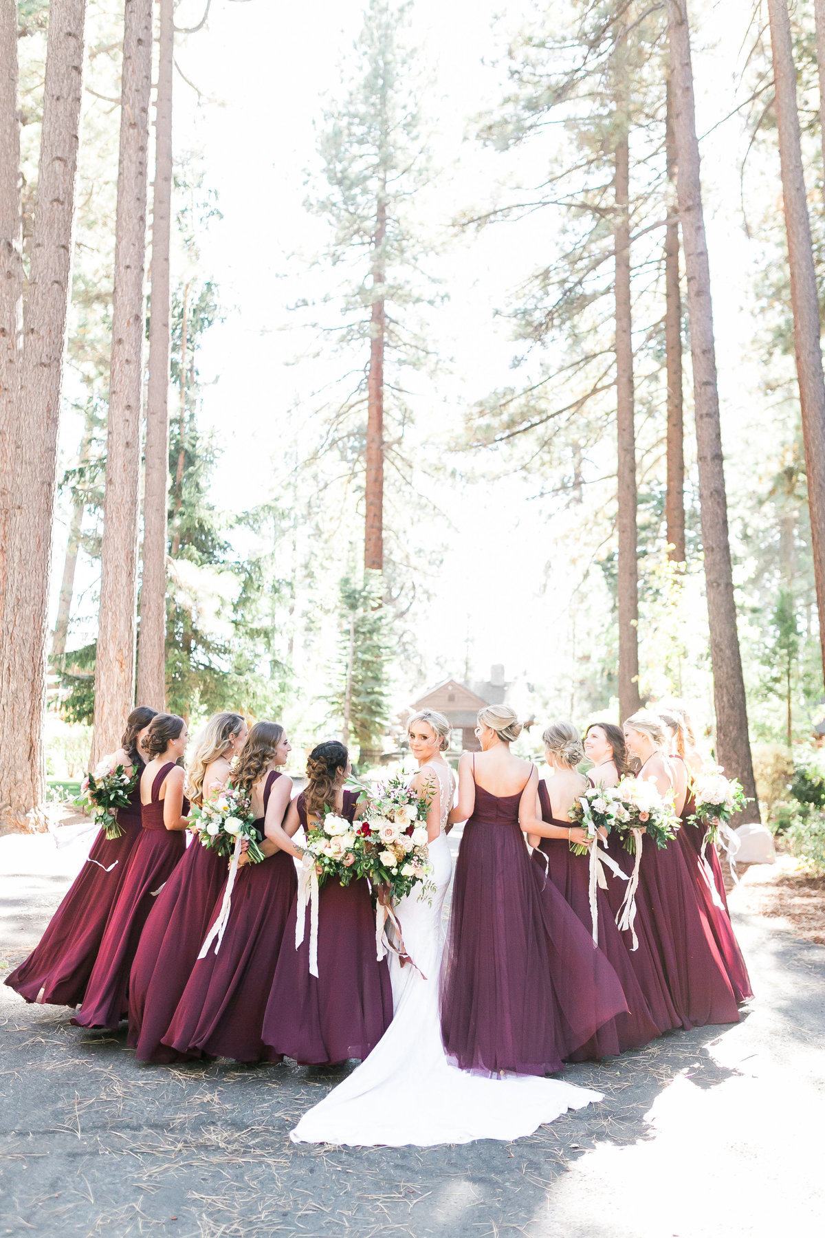 marroon bridesmaids dresses in Lake Tahoe