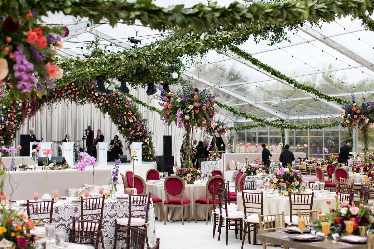 Luxury Tented Wedding with Floral Ceiling and Clear Tent, Dallas Texas