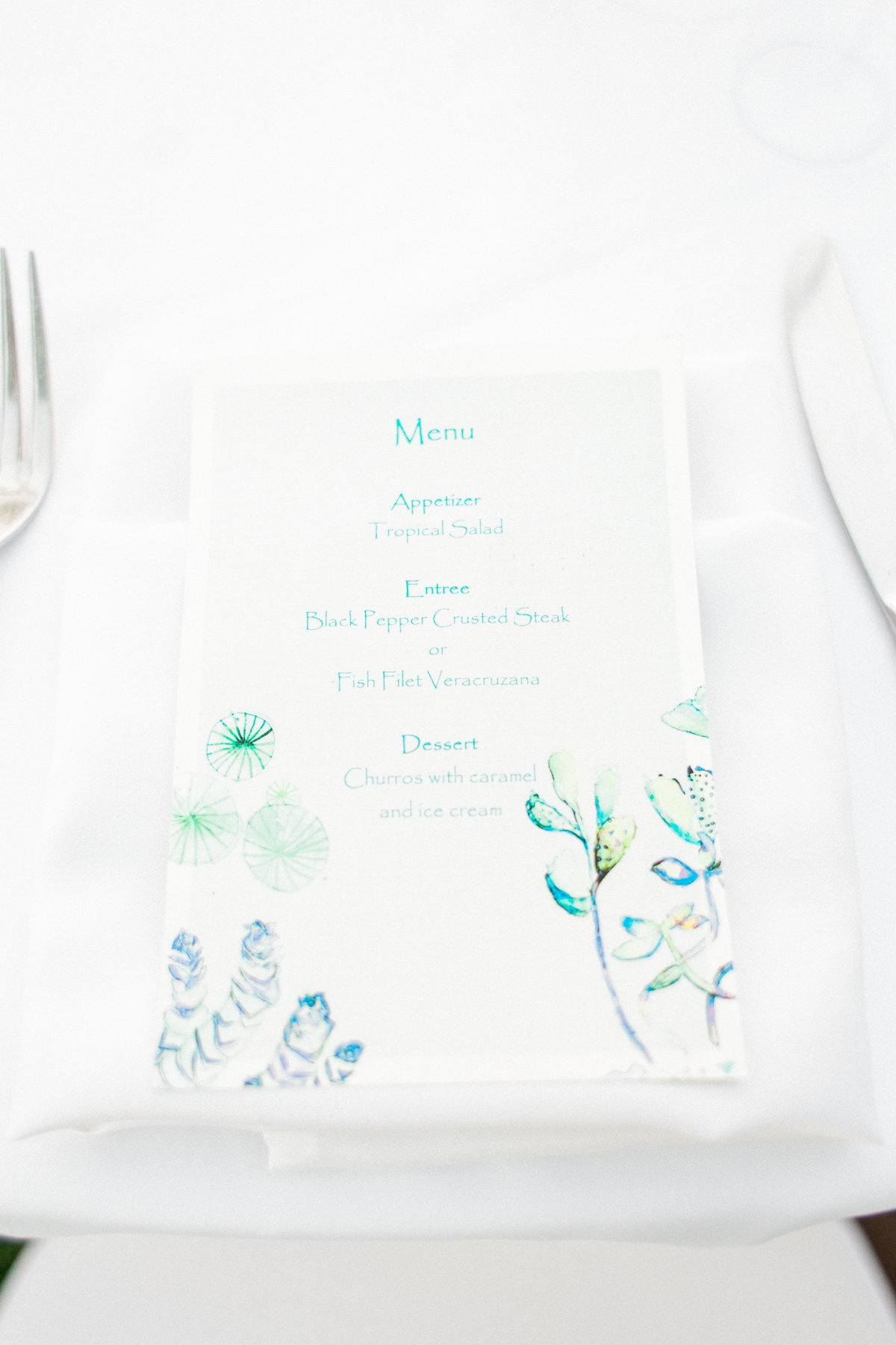 Floral Print Wedding Menu