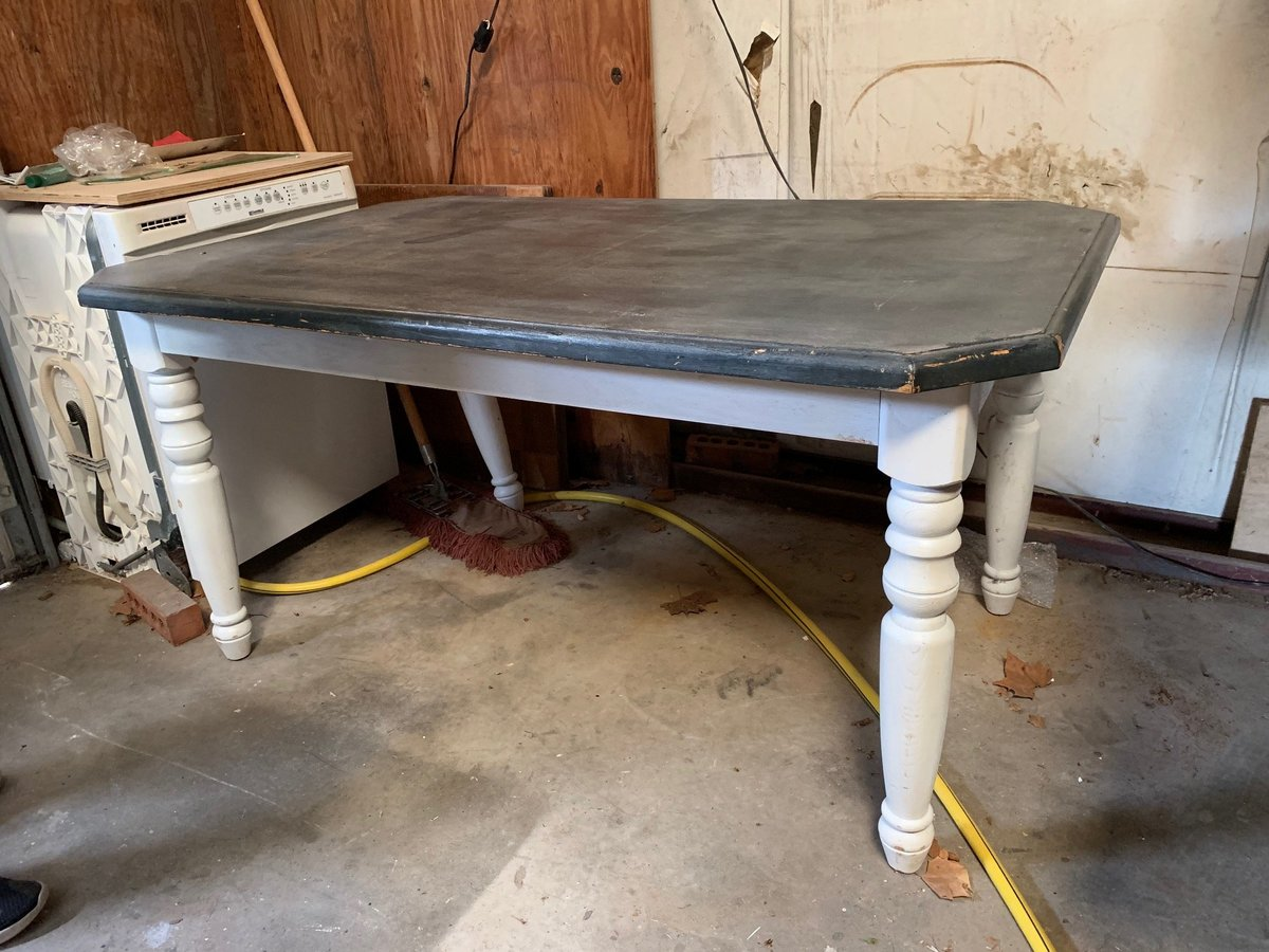 white and gray farm table
